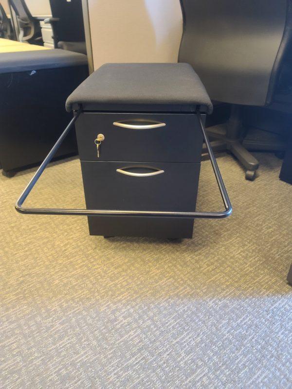 Steelcase Black Cushion Mobile Pedestal File Bar