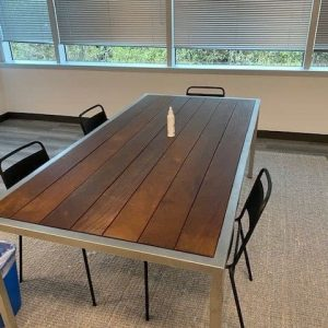7ft wood picket table with Metal Base