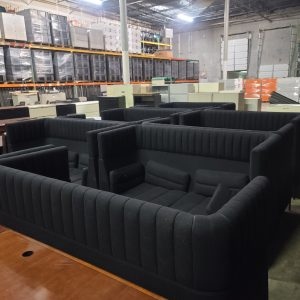 Used Double Highback Black Sofa