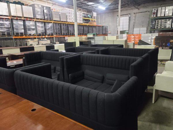 Used Double Highback Black Sofa