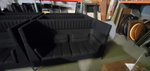 Double Highback Black Sofa