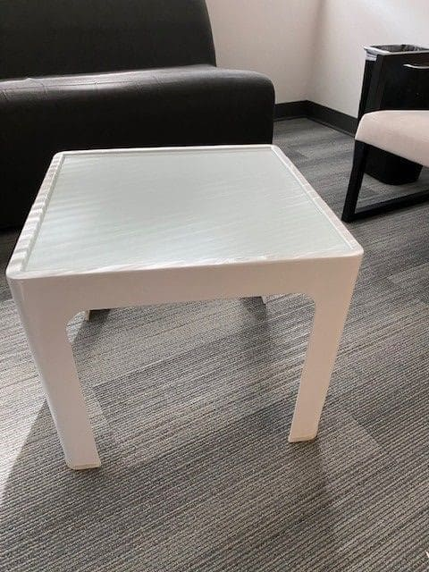 White Square Glass Table