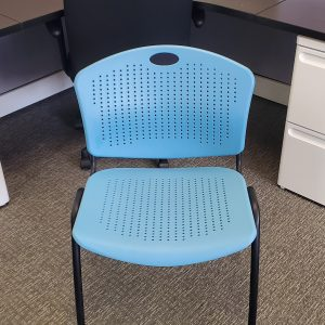 Used SitOnIt Aqua Black Frame Plastic Stack Chairs