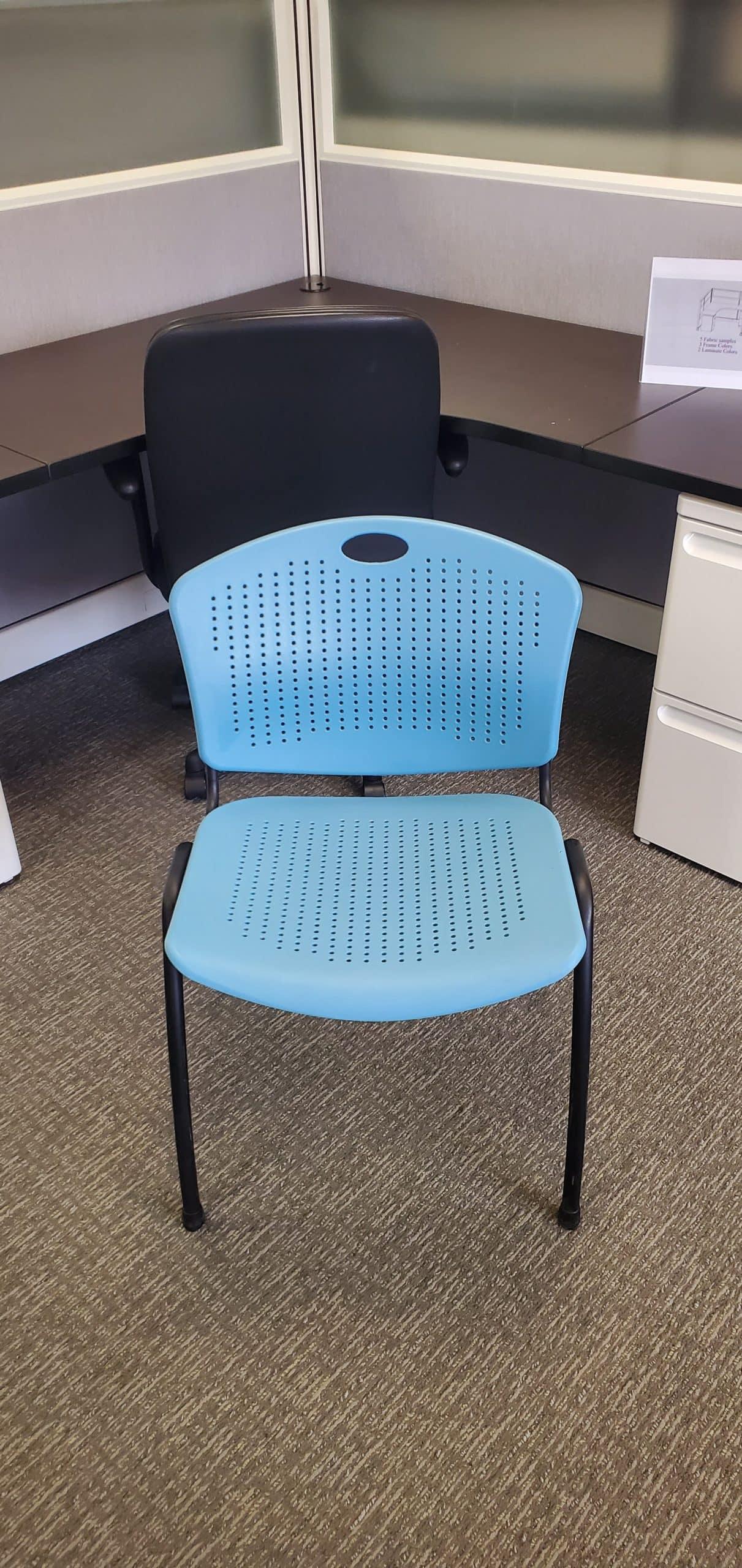 Used SitOnIt Aqua Black Frame Plastic Stack Chairs