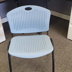 Used SitOnIt Aqua Blue Black Frame Stack Chairs