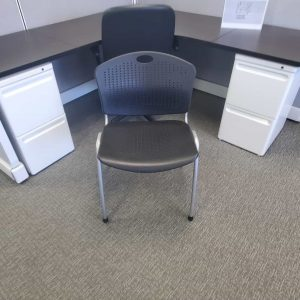 Used SitOnIt Black Silver Frame Stack Chairs
