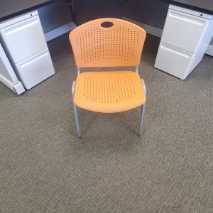 Used SitOnIt Orange Silver Frame Stack Chairs