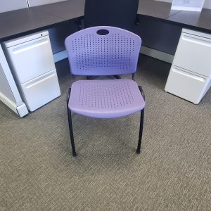 Used SitOnIt Purple Black Frame Stack Chairs