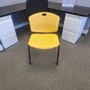 Used SitOnIt Yellow Black Frame Stack Chairs