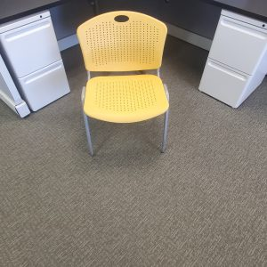 Used SitOnIt Yellow Silver Frame Stack Chairs