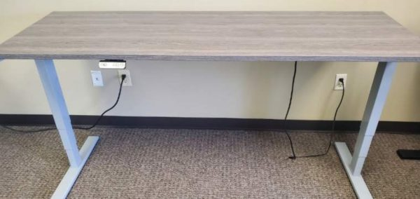 Used Sit Stand Desks New Gray Finish Silver Base