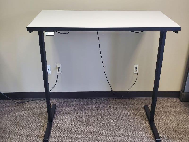 Used Sit Stand Desks White Finish Black Band & Base