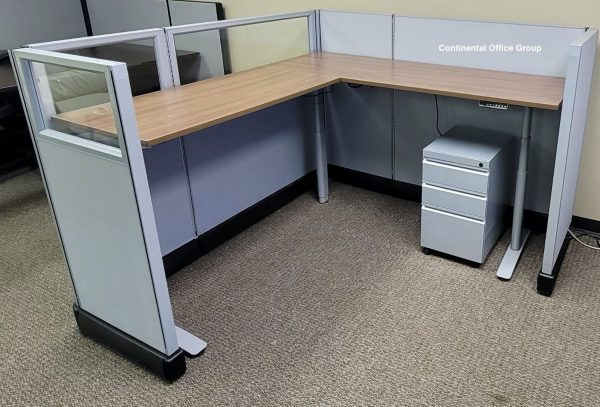 Used Herman Miller Sit Stand 6x6x53 Cubicles with Glass