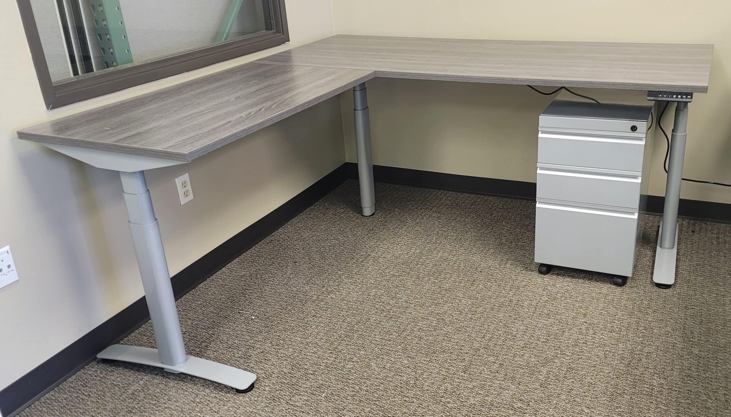 Used SitStand Silver Finish L Shape Adjustable Desks
