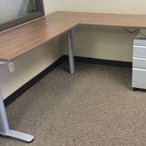 Used Sit Stand L Shaped Desks Walnut Finish Silver Base