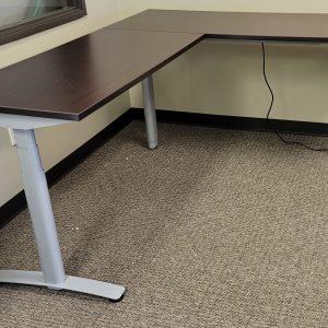 Sit Stand L Shape Desks Espresso Finish Silver Base