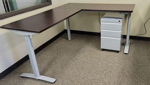 Used Sit Stand L Shape Desks Espresso Finish Silver Base